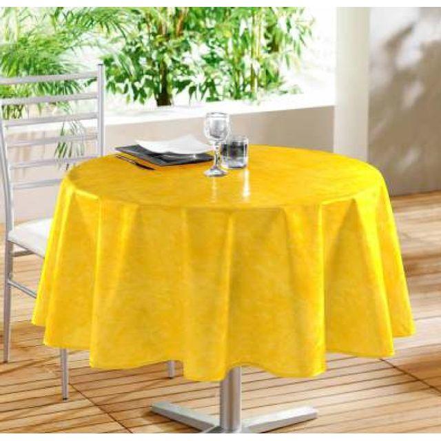 douceur d 39 interieur toile cir e ronde beton cir jaune 160 cm pas cher achat vente nappes. Black Bedroom Furniture Sets. Home Design Ideas