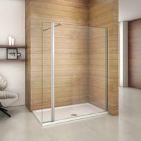 marque generique paroi de douche 140x200cm en verre anticalcaire avec un pivotant retour de 30cm - Paroi De Douche Avec Retour Pivotant