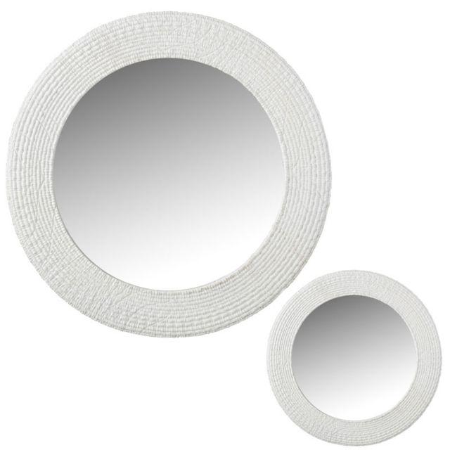 Tousmesmeubles Duo de Miroirs ronds Résine blanc - Henan