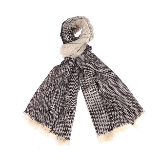fdde4828ad4e Harris Wilson - Echarpe Tasmanie en laine mélangée crème à motifs bleu  marine et gris clair - pas cher Achat   Vente Echarpes, foulards -  RueDuCommerce