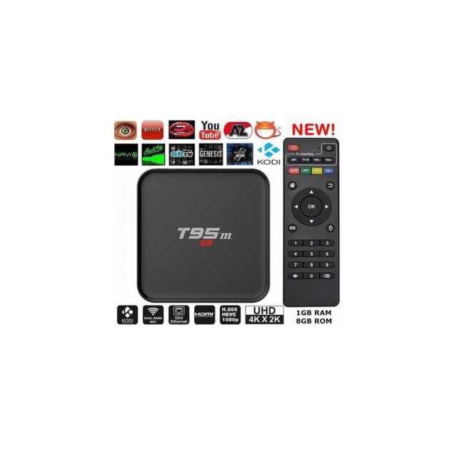 Auto-hightech Box Tv Android 5.1 Quad Core 1 + 8 Go WiFi 2.4G Lecteur media Streaming – Prise Us