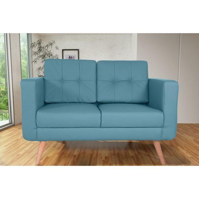 Rocambolesk Canapé fixe Hedvig 2 Pu Soft 08 Bleu sofa divan