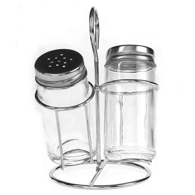 Revimport Set Sel / poivre verre sur support métal chromé
