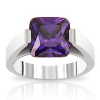Planetys - Bague Inori Acier Oxyde de Zirconium violet