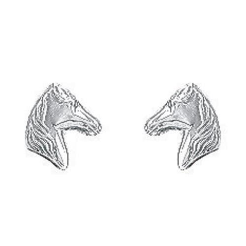 Sochicbijoux So Chic Bijoux © Boucles d'Oreilles Tête de Cheval Equitation Or Blanc 750/000 18 carats