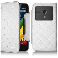 Karylax - Housse Coque Etui Portefeuille Style Diamant Universel S couleur blanc pour Motorola Moto G 4G