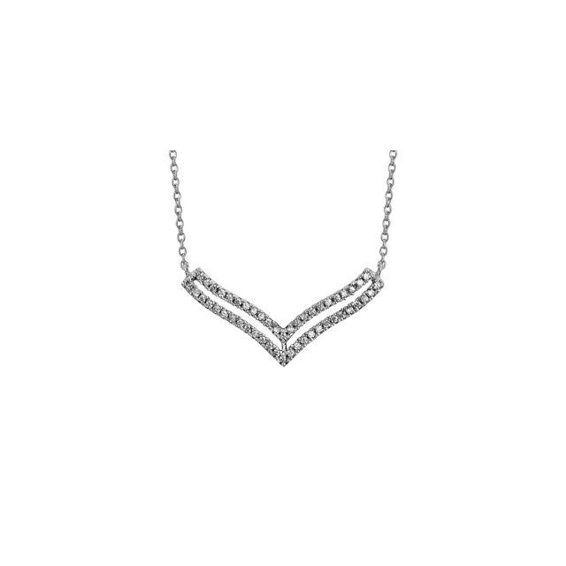 1001bijoux collier argent rhodié double v superposés oxydes blancs sertis 404cm