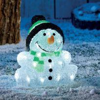 Provence Outillage - Bonhomme de neige acrylique 30 led Hauteur 24 cm