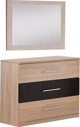 Comforium Commode adulte coloris chêne et noir + miroir 60 cm