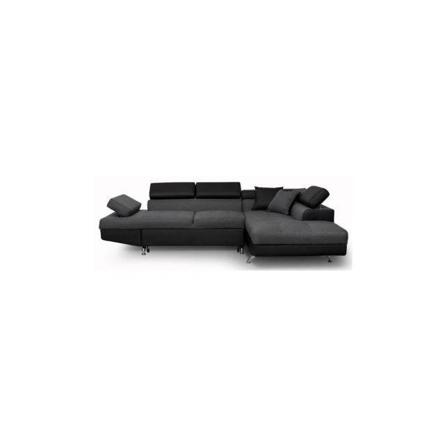 Sans Marque Futura Canape Dangle Droit Convertible 4 Places + Coffre De Rangement - Tissu Gris Fonce Et Simili Noir - L 272 X P 192