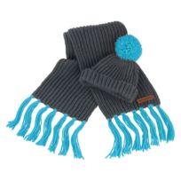 Set bonnet à pompon et écharpe à franges grosses mailles - R362X - gris et  bleu f9f72c02f6d