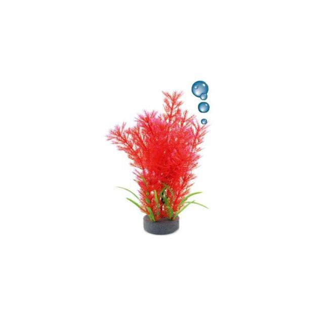 Le Poisson Qui Jardine Plante plastique rouge avec bulleur pour aquarium : 20cm