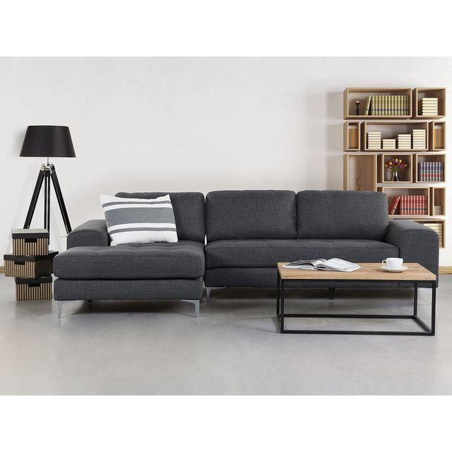 Beliani Canapé d'angle - canapé en tissu gris foncé - Kiruna