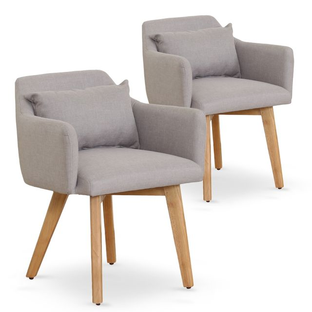 MENZZO Lot de 2 fauteuils scandinaves Gybson Tissu Beige