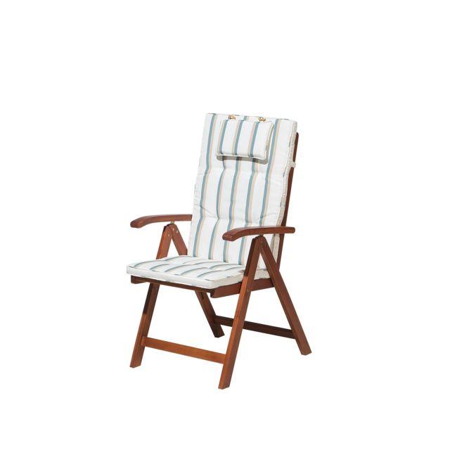 BELIANI Chaise de jardin avec coussin beige-vert Toscana
