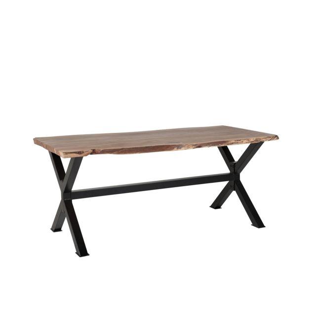 BELIANI Table de salle à manger en bois 200 x 95 cm marron/noir VALBO - marron clair