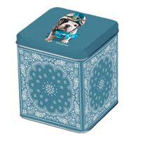 Foxtrot - Boite à thé en métal motif oriental et chien pilote bleu 11x10x11.5cm Teo Jasmin