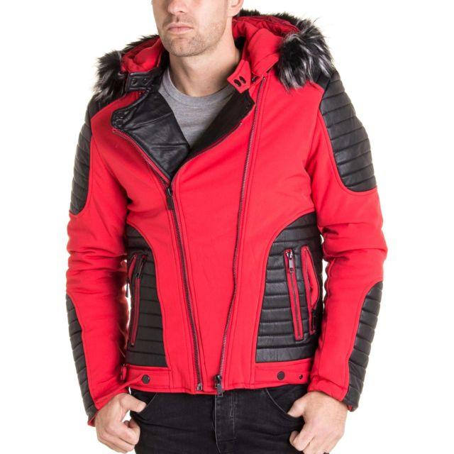 sortie en ligne 100% de haute qualité 100% de qualité Manteau blouson homme rouge à capuche fausse fourrure noir gris