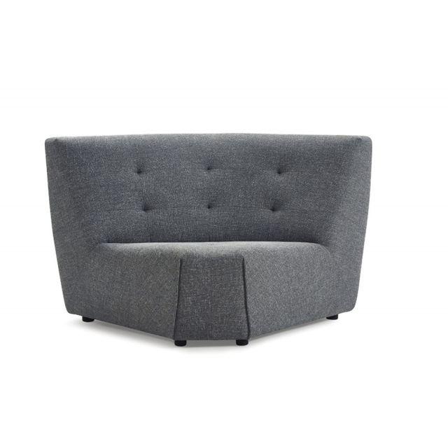 MEUBLETMOI Module Angle pour canapé composable Tissu gris - Origami