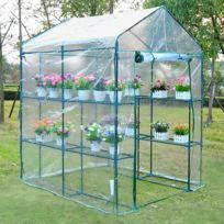OUTSUNNY - serre de jardin balcon terrasse 4 étagères 143L x 143l x 195H cm acier PVC imperméable anti-UV transparent vert 72