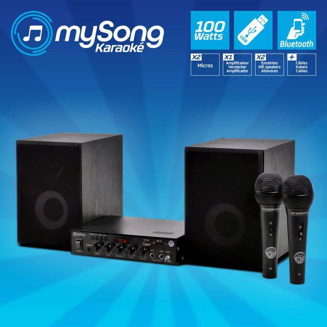 Mydj Pack Karaoké 2 enceintes + amplificateur 2X50W + 2 microphones My Song