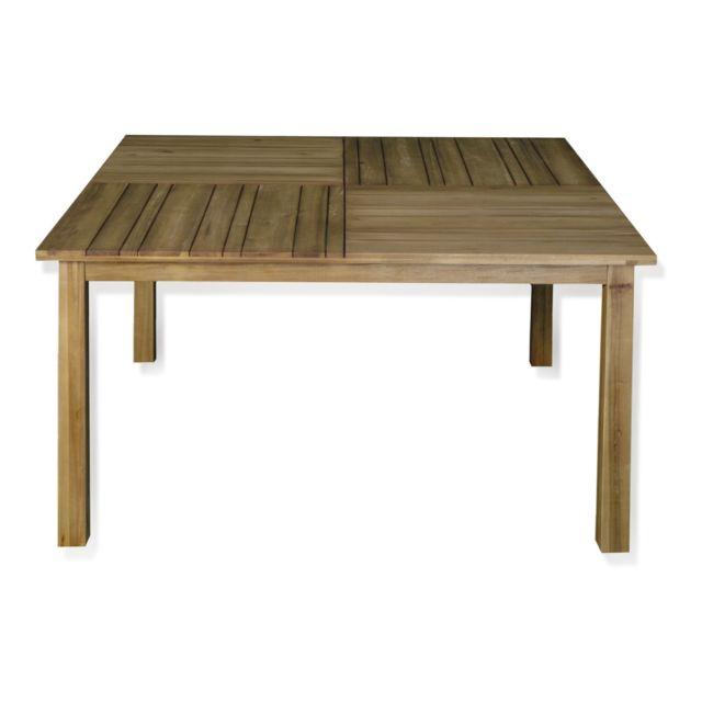 Alinéa - Square Table de jardin fixe en acacia 4 à 8 places ...