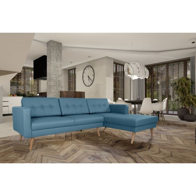 Rocambolesk Canapé Hedvig angle droit 3L Pu soft 08 bleu avec pieds naturels sofa divan
