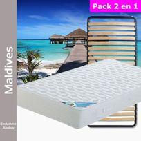 Altobuy - Maldives - Pack Matelas + Lattes 90x200