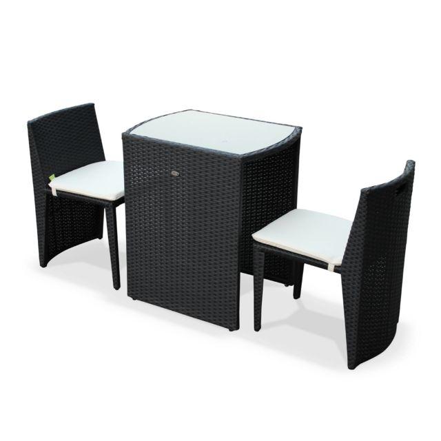 Table De Jardin En Resine Tressee Doppio Noir Coussins Ecru 2 Places Encastrable Pour Balcon Et Terrasse