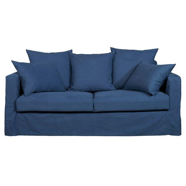 House Bay Canapé 3 places 100% coton déhoussable et pieds en bois Alphonse - Bleu - Fixe