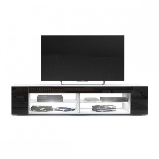 Mpc Meuble Tv blanc mat Façades en noir laquées led Blanc