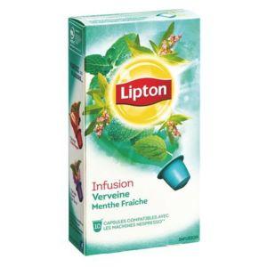 lipton capsules infusion verveine menthe fra che boite de 10 pas cher achat vente th. Black Bedroom Furniture Sets. Home Design Ideas