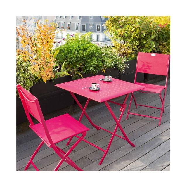 Hespéride Table aluminium Azua 2 places cerise