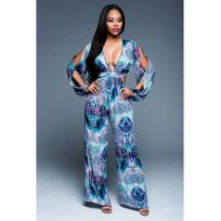 Fashion Mode 45 - Combinaison ample bleu à motif Couleur - Bleu, Taille - Xl
