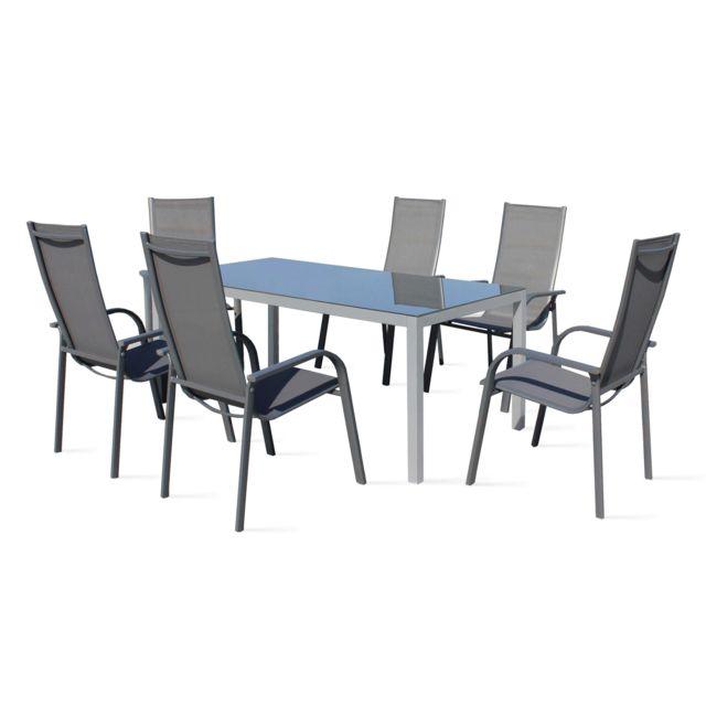 BOUTIQUE-JARDIN Table de jardin 6 places en aluminium et textilène