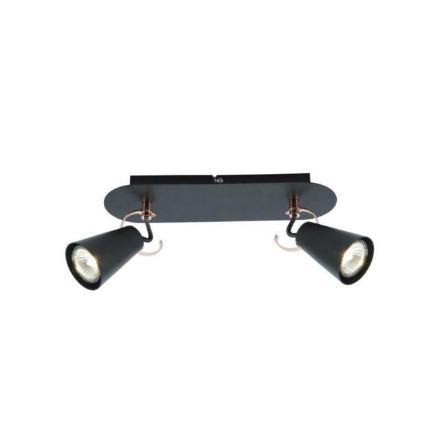 brilliant saso plafonnier 2l m tal 17x30x9cm noir cuivre pas cher achat vente. Black Bedroom Furniture Sets. Home Design Ideas