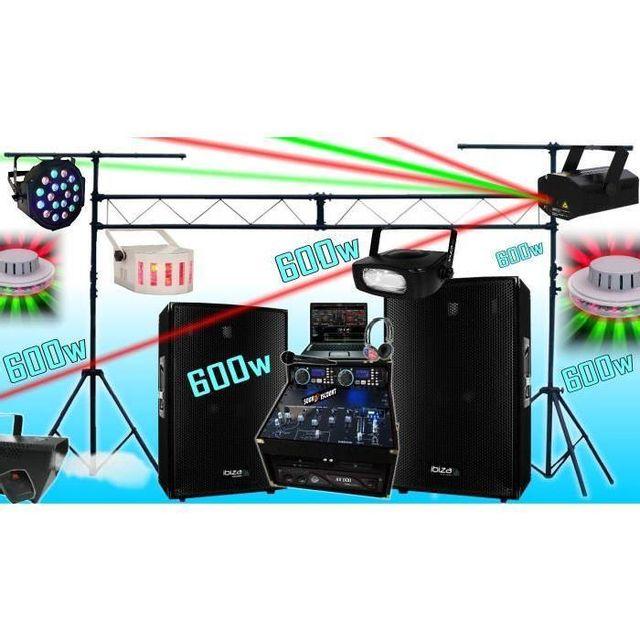 Ibiza Sound Sono complète 600w avec enceintes sono ampli double lecteur cd mixage micro dj casque - la totale pa dj