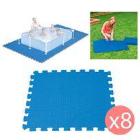 Touslescadeaux - 8 Dalles Tapis de Sol modulable pour piscine - 50 cm x 50 cm