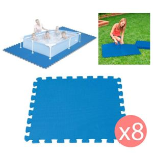 Touslescadeaux 8 dalles tapis de sol modulable pour for Tapis de sol sous piscine hors sol