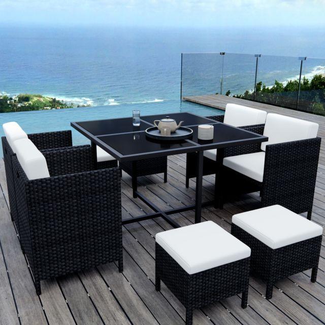 ims garden munga 8 places ensemble encastrable salon table de jardin r sine tress e noir. Black Bedroom Furniture Sets. Home Design Ideas