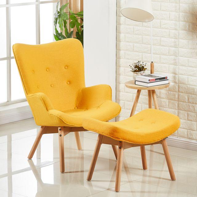 Oneboutic Fauteuil scandinave jaune - Stockholm