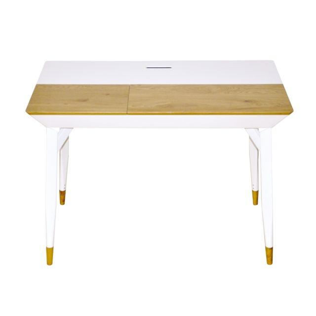 Bureau design Bartani avec cases de rangement - l 105 x P 55 x H 76 cm - Blanc