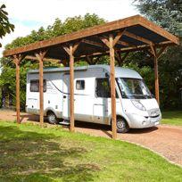 - Carport autoportant en bois traité autoclave pour camping car 4x8m