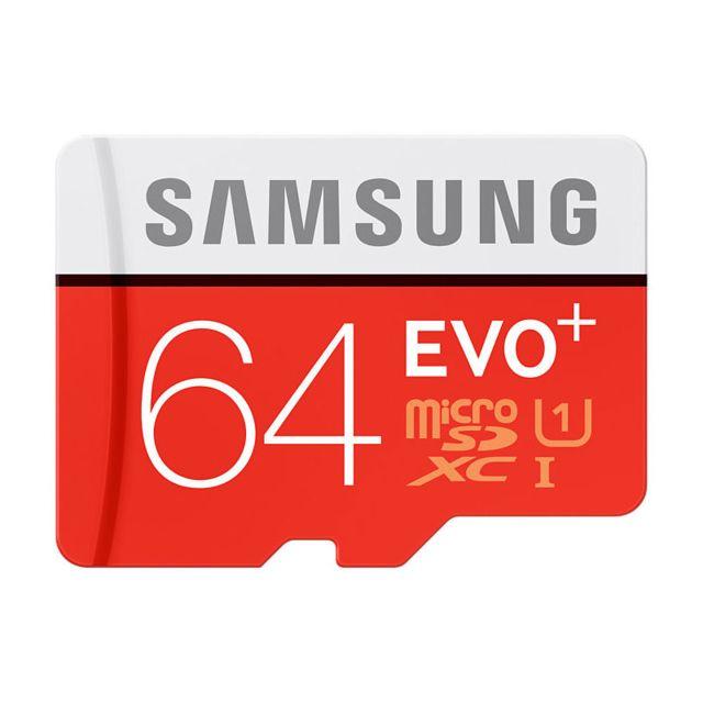 Samsung Micro SDXC EVO Plus 64 Go + Adaptateur SD Carte Mémoire MicroSD EVO Plus 64 Go - 80 Mo/s - Compatible téléphone, tablette et appareil photo - Résistante à l'eau de mer, à la chaleur, au froid, aux rayons X et au magnétisme