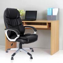 Rocambolesk - Superbe Chaise fauteuil de bureau noir Chaise pour ordinateur hauteur réglable simili cuir Obg24B neuf