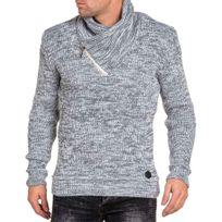 BLZ Jeans - Pull homme blanc côtelé col châle zippé