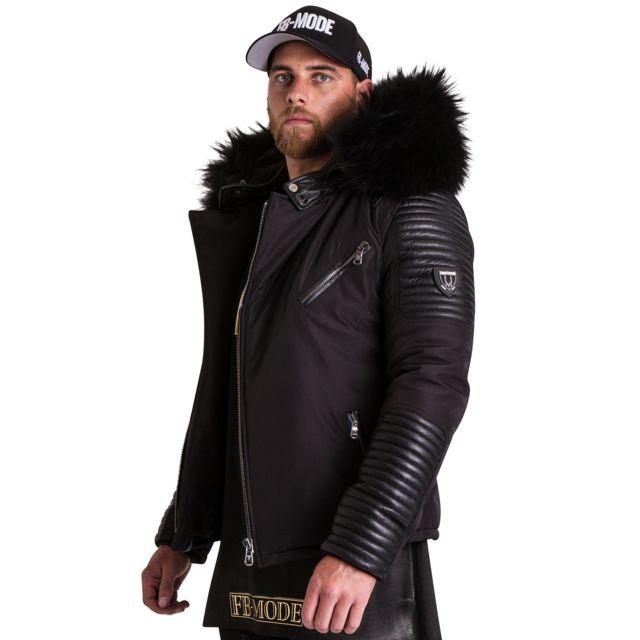 VENTIUNO - EKOS noir fourrure noirdoudoune , fourrure, veste, doudoune, cuir,  homme - pas cher Achat   Vente Doudoune homme - RueDuCommerce 7166fc9e64b