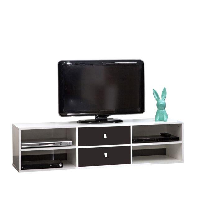 symbiosis meuble tv 4 niches 2 tiroirs 1485 cm blanc noir