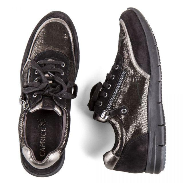 f92ed0f9be1 Caprice - Chaussures baskets cuir noir métallique onAir femme - pas cher  Achat   Vente Baskets femme - RueDuCommerce