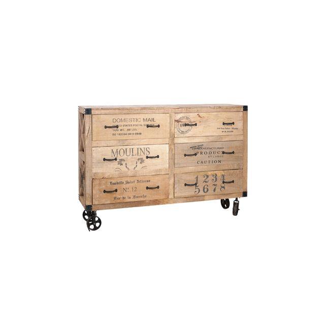 Commode à roues 6 tiroirs 150x40x104cm coloris naturel
